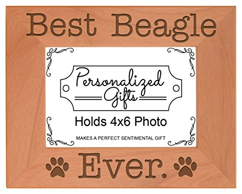Dog Lover Gifts Best Beagle Ever Natural Wood Engraved 4x6 Landscape Picture Frame Wood