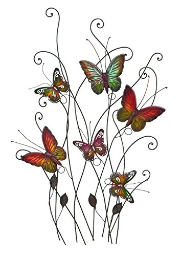 "Bellaa 27611 Colorful Butterflies Metal Wall Art Decor, 32"" x 20\"""