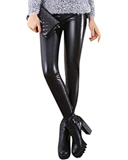 557341daa44 ShiFan Femmes Taille Haute Brillant Look Mouillé Leggings Faux Cuir  Pantalon Stretch Jeggings