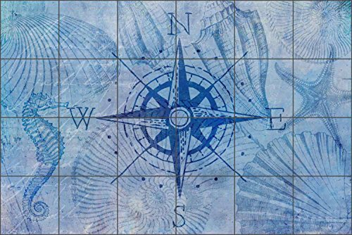 Tile Mural Backsplash Vintage Nautical Compass by Andrea Haase Ceramic Kitchen Wall (25.5