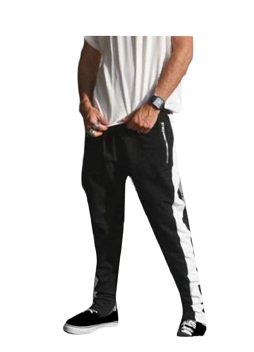 Sweatwater Mens Trousers Fitness Zipper Sport Elastic Waist Contrast Pants
