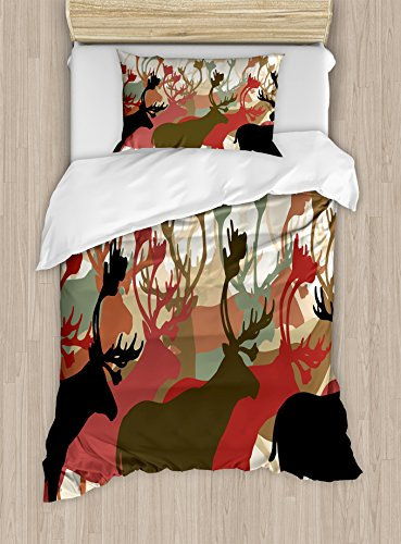 (Ambesonne Antler Duvet Cover Set Twin Size, Reindeer Caribou Herd Migrating Colorful Silhouettes Wildlife Nature Theme Print, Decorative 2 Piece Bedding Set with 1 Pillow Sham, Multicolor)