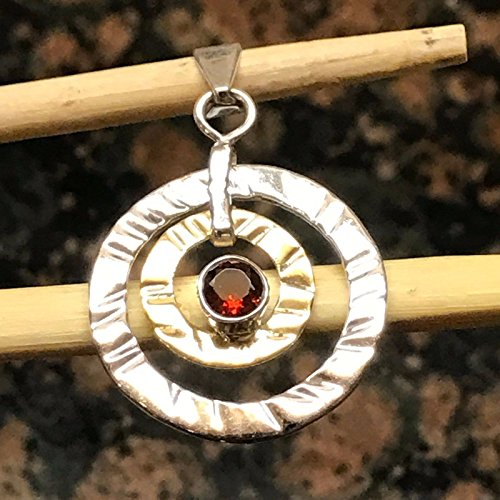 (Natural 1ct Fire Garnet 925 Solid Sterling Silver 2-Stone Pendant 37mm Long)