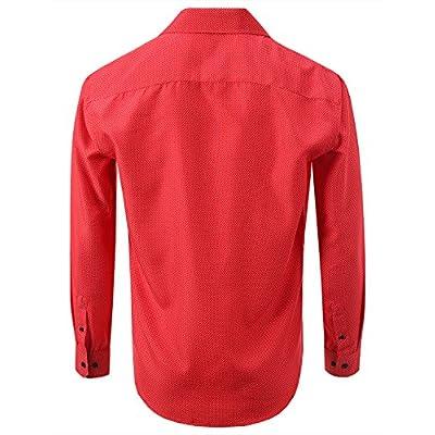 7 Encounter 7Encounter Men's Spread Collar Patterned Cotton Oxford Long Sleeve Dress Shirt