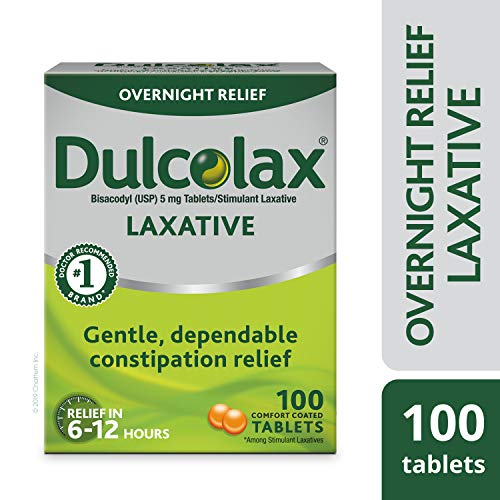 Dulcolax Laxative Tablets, 100 Count, Gentle, Reliable Overnight Relief from Constipation, Hard, Dry, Painful Stools, and Irregular Bowel Movements, Stimulates Bowel to Encourage Movement Dulcolax