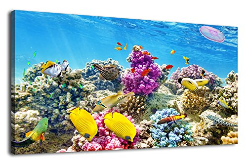 Tropical Fish Paintings - arteWOODS Canvas Wall Art Tropical Fish Coral Underwater Painting Nature Pictures Panoramic Aquarium Canvas Arotwork Marine Animal Wall Art for Home Office Decoration Framed Ready to Hang 20