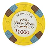 Pack of 50 Monaco Club Poker Chips, Heavyweight 13.5-gram Clay Composite by Claysmith Gaming ($1,000 Yellow)