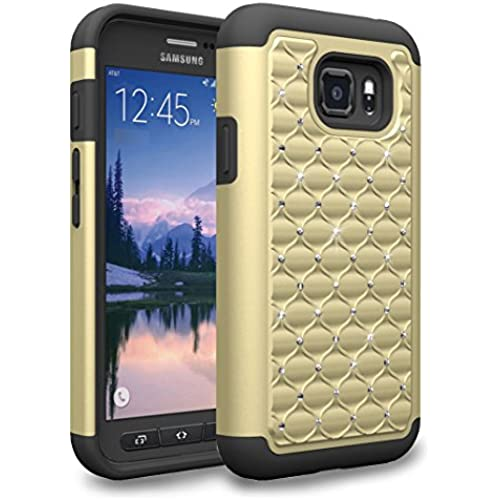 S7 Active Case, Kaesar Dual Layer Studded Rhinestone Crystal Bling Silicone Rubber Skin Hybrid Armor Defender Case Cover for Samsung Galaxy S7 Active - Gold Sales