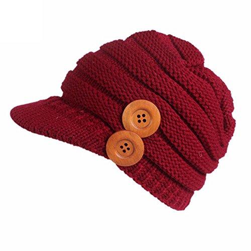 - URIBAKE Women's Winter Knitting Hat Berets Turban Brim Hat Cap Pile Cap
