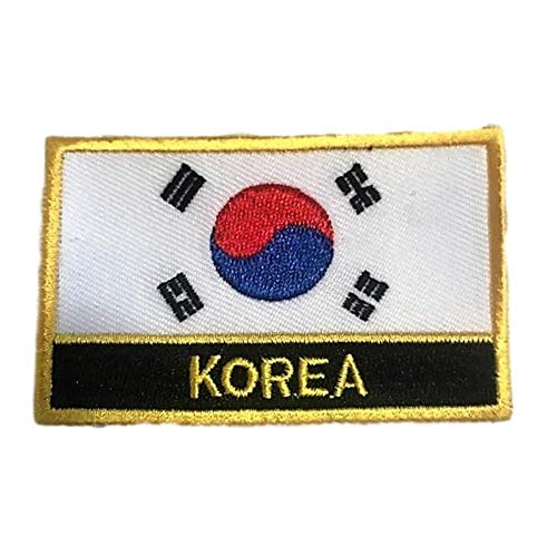 South Korea Flag Patch/Asian Embroidered Iron-On Travel Patches (Korean sew-on w/Words, 2