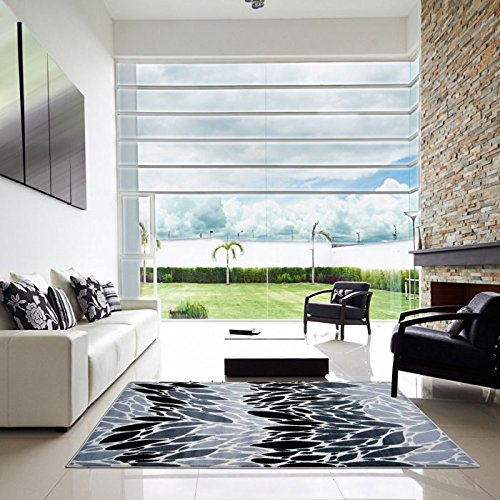 Glenwood Grey Area Rug, Living Room, Bedroom, Dining Area Rug, Modern Contemporary Carpet (6'5x9'5)