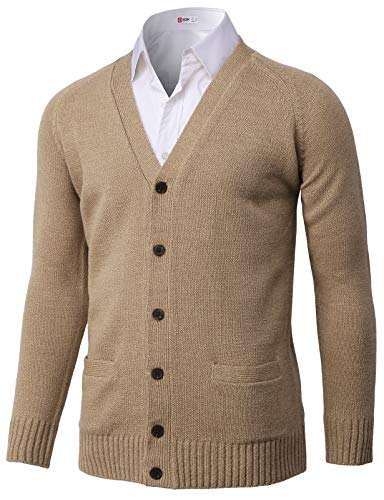 H2H Mens Casual Knitted Cardigan Button Closure Beige US M/Asia L (KMOCAL203)