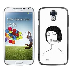Retrato de Asia Chica Dibujo Blanco Negro- Metal de aluminio y de plástico duro Caja del teléfono - Negro - Samsung Galaxy S4