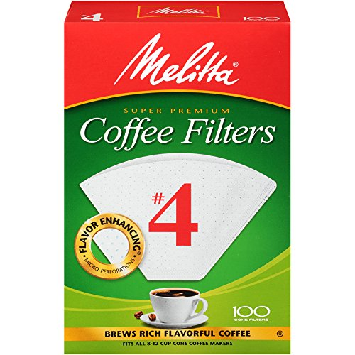 Melitta (624102C) #4 Super Premium Cone Coffee Filters, White, 100 Count (Pack of 12) Replacement Coffee Maker Filters by Melitta