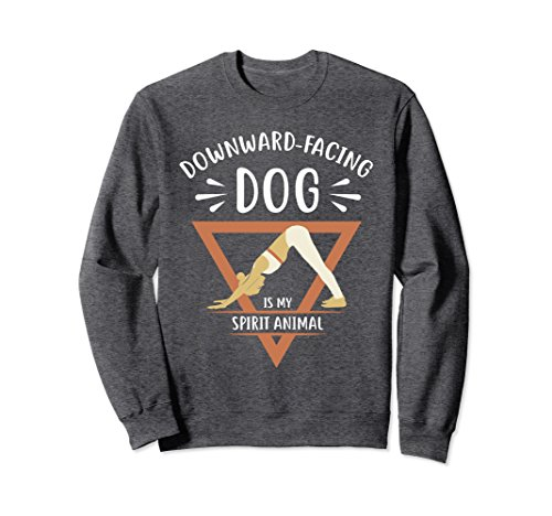 Unisex Yoga T-shirt for Women Funny Downward Facing Dog Sweatshirt XL: Dark Heather (Dog T-shirt Dark Funny)