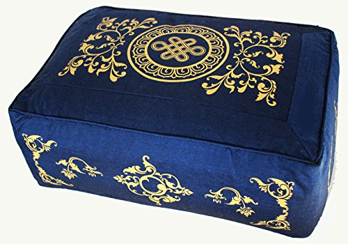 Meditation Cushion - Tibetan Style Rectangular Combination Fill Zafu - Blue Eternal KNot by Boon Decor
