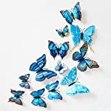 Kingko 12x 3D Butterfly with Pin Wall Sticker Fridge Curtain Buckle Clothing Decoration Room Decor Decal Applique (Blue)