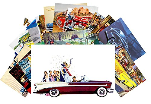 Postcard Set 24 cards Classic Cars Vintage Posters Advert American Fifties Chevy Ford Dodge