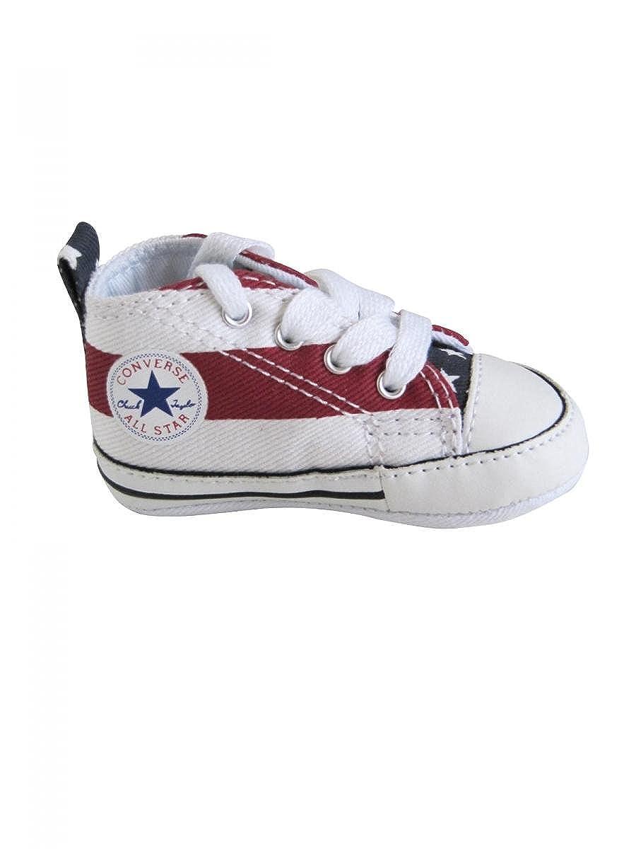 373fb5777de Converse-Baskets all star bébé garcon toile américaine blanc rouge