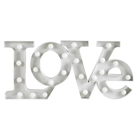 MiniSun - Contemporáneas letras luminosas blancas LOVE con 24 luces LED a pilas