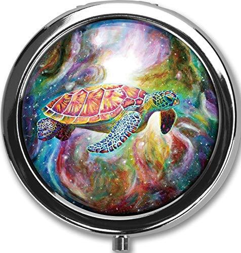 Silver Round Turtle - Turtle in The Starry Sky Design New Silver Round Pill Box Decorative Metal Medicine Vitamin Organizer Unique Gift