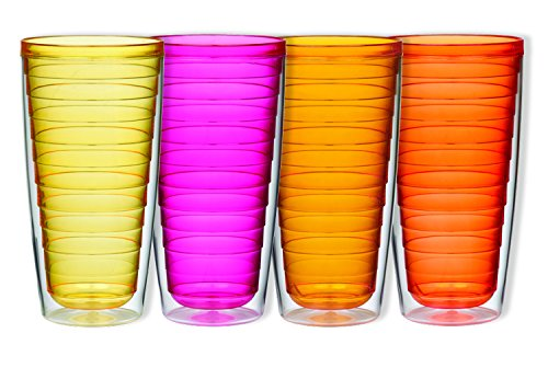 Boston Warehouse Insulated Plastic Tumblers, 24-Ounce, Set of 4, Sunset Collection