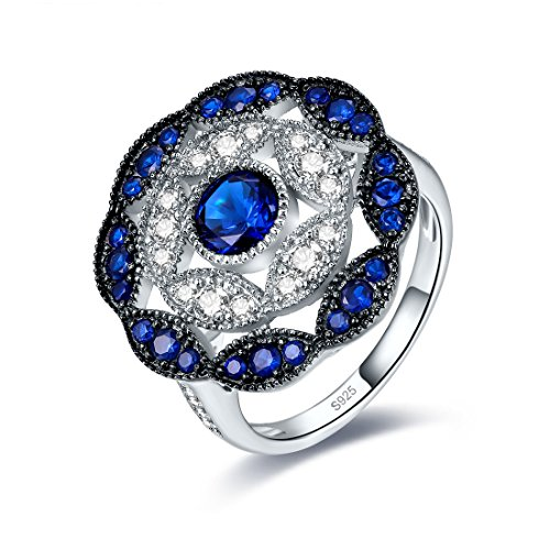 Jrose 925 Sterling Silver Vintage Created Blue Sapphire Cluster Cocktail Ring for Women by jrose