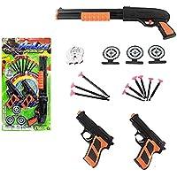 kit Pistola Lança Dardo e Escopeta com Alvos e Distintivo