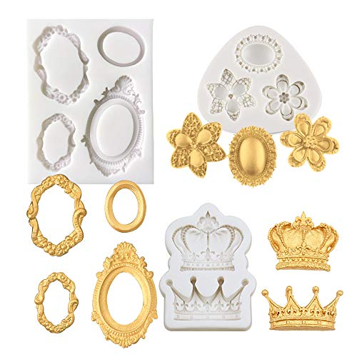 Alexless 3Pcs Gorgeous Vintage Royal Crown Vintage Frame Silicone Molds Cupcake Fondant Molds for Sugarcraft Cupcake Chocolate Candy Making, Clay Epoxy Resin Crafting -