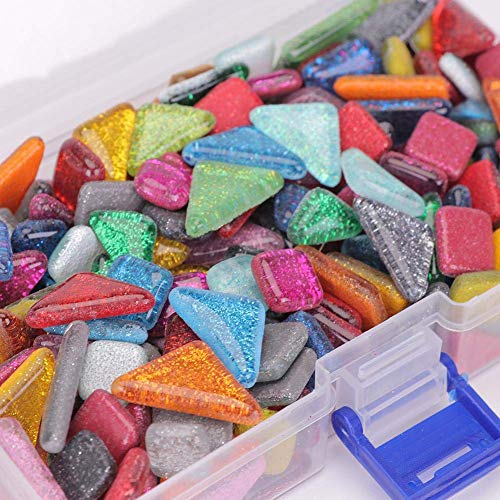 Macrorun Glass Mosaic Tiles DIY Mosaic Glass Pieces Children Puzzle Art Crafts Decoration (L) ()
