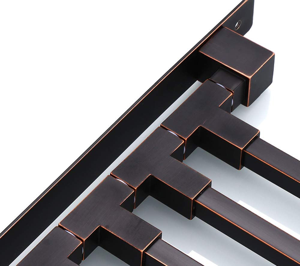 ELLO&ALLO Oil Rubbed Bronze Swing Out Towel Racks for Bathroom Holder Wall Mounted Towel Bars with Hooks 3-Arm