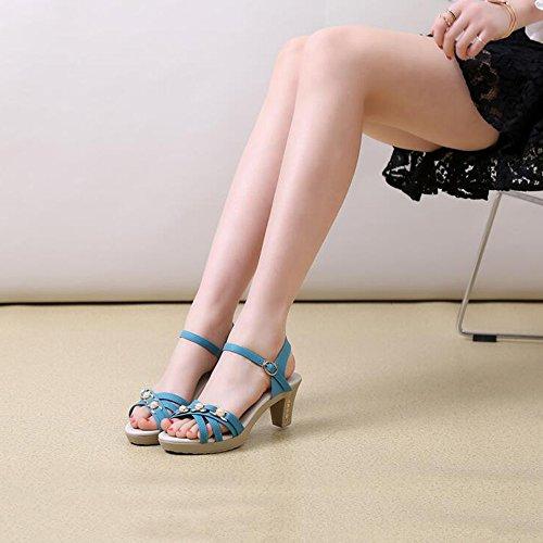 para Sandalias Zapatos Azul claro mujer Sandalias Alto Beige HAIZHEN 5 claro Color Verano Azul Negro mujer de Abierto mamá 2 simples EU34 con Tamaño para oscuro azul Azul claro CN33 Zapatillas UK2 punta Mujer H1q5IxB