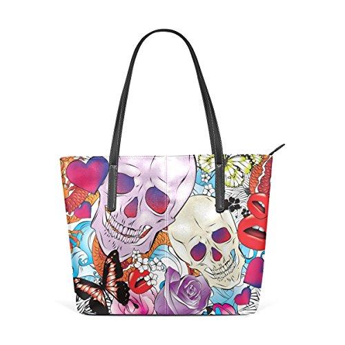 COOSUN Cráneo y Rose patrón PU cuero bolso monedero y bolsos de la bolsa de asas para las mujeres Medio muticolour