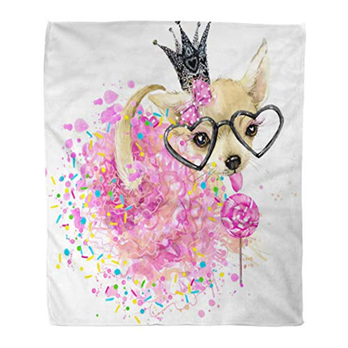 (Emvency Decorative Throw Blanket 60 x 80 Inches Chihuahua Cute Dog Watercolor for Design Graphics Toy Terrier Breed Candy Girl Warm Flannel Soft Blanket for Couch Sofa Bed)