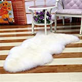 Bedroom Faux Mat Soft Hairy Carpet Sheepskin Chair Cover Seat Pad Plain Skin Fur Plain Fluffy Area Rugs Washable (white)