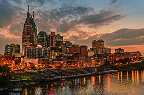 (Nashville Tennessee Skyline Cumberland River Photo Art Print Poster 18x12)