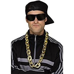 Fun World Men's Gold Big Link Rapper Plastic Chain, Standard