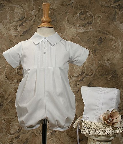 Christening Romper with Pintucking 3 Mo (8-11 lbs)
