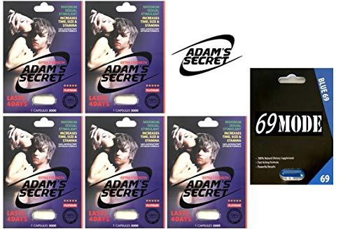 69MODE Blue69 1Pill - New Adams Secret 3000 5Pill 100% Natural Male Libido Performance Enhancement with Adams Secret Original Inner Seal (69MODE(1) AD3000(5))