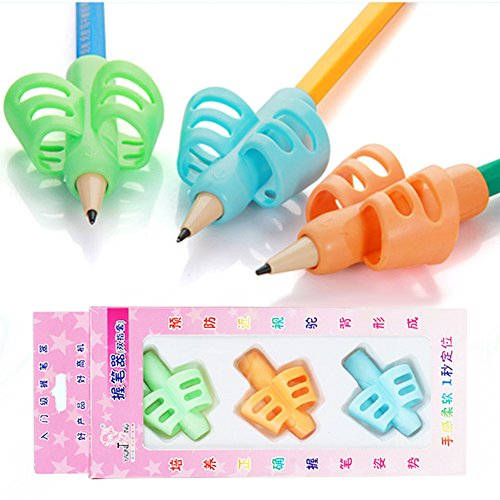 Yuccer Pencil Grips Posture Correction Tool Silicone Pencil Grip for Kids Handwriting, Set of 3