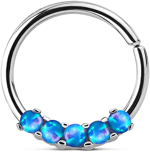 Five Paved Opal Round 316L Surgical Steel WildKlass Septum Hanger Sold by Piece