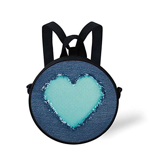 iPrint Toddler Preschool Backpack,Navy and Teal,Ripped Denim Jean Fabric Image Heart Shape Love Romance Valentines Day Decorative,Navy Blue Seafoam,for Little Boys Girls
