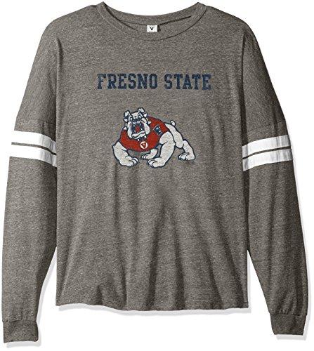NCAA Fresno State Bulldogs Betty Long Sleeve Tri-Blend Football Jersey T-Shirt, X-Large, Tri Grey/White ()
