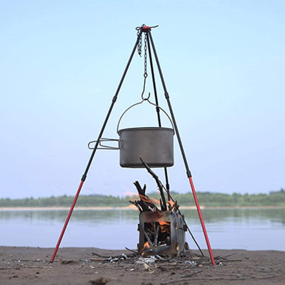 Lightweight 3-Leg Holder Cookware Accessory for Campfire Picnic Hanging Pot Aluminum Camping Tripod, Portable Outdoor Cooking Tripod with Adjustable Hang Chain
