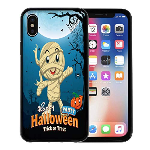 Emvency Phone Case for Apple iPhone Xs Case/iPhone X Case,Border Party Vintage Halloween Kid in Mummy Costume Spider Soft Rubber Border Decorative, Black
