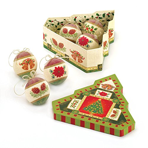 Classic Frosted Christmas Ornament Set w/ Decorative Tree Shaped Box