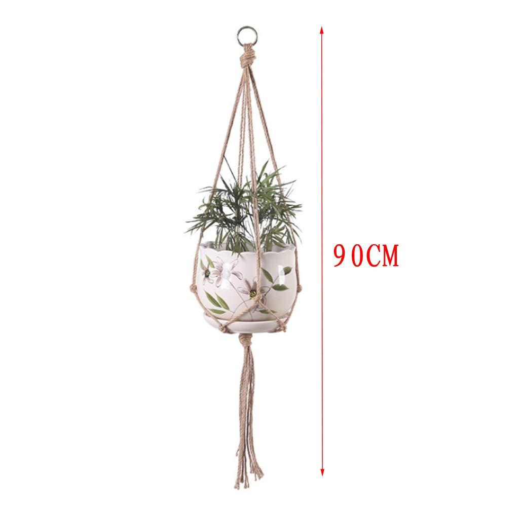 Macram/é trenzado soporte cesta colgante macetero para decoraci/ón de jard/ín maceta planta colgador macram/é Lailongp 4 unidades
