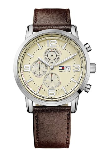 Tommy Hilfiger 1710337 Mens Cream and Brown Gabe Chronograph Watch