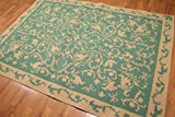 5'6''x8' Green, Gold Color Machine made French Aubusson Area Rug 100% Wool