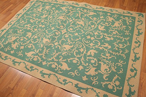 5'6''x8' Green, Gold Color Machine made French Aubusson Area Rug 100% Wool by Oriental Rug of Houston
